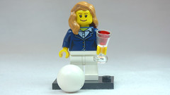 Brick Yourself Custom Lego Figure Smartly Dressed Volleyballer with Red Wine