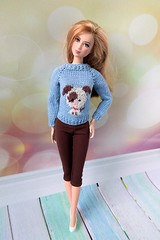 Handmade Barbie clothes. Christmas outfit Hand-knitted blue sweater pullover with puppy and brown leggings (uliakiev) Tags: barbie barbiedoll barbiedollclothes barbieclothes barbiesweater barbiecollector barbiecollection barbiefan barbiefashion barbieclothing barbiedolls barbiestyle barbiestream barbiecrochet barbieknit dollclothes dollsweater dollknitting
