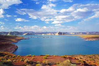 Amazing scenery with Lake Powell on a beautiful day, Arizona