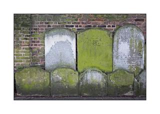 Relocated Gravestones, East London, England.