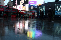 A rainy day in London (raffaella.rinaldi) Tags: colors colorful bus red piccadilly circus holiday tourism london travel reflections winter city
