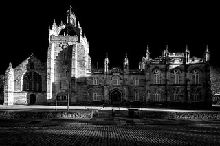 dramatic fine art black sky black & white view of Kings College and its Chapel, University of Aberdeen, Aberdeen, Scotland