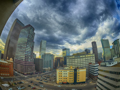 Cloudy afternoon in Uptown (Denverphotoscapes) Tags: imagecolorstyleformat style fisheyeview capturone phaaseone xf 24mmfisheye hdr iq3100 100mpclub architecture building architecturaldetail arch ~attribute ~element sky ~what ~structuresarchitecture captureonepro worldregionscountries northamerica unitedstatesofamerica colorado denver environment scenery land urbanlandscape uptown