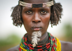 Dassanech woman portrait with beaded necklaces and feather, Omo valley, Omorate, Ethiopia (Eric Lafforgue) Tags: woman women tribe tribal southernethiopia portrait picture photograph people onewomanonly onepersononly omotic omorate omovalley necklace lookingatcamera indigenousculture geleb frontview feather outdoors ethiopia ethio8852 merille dassanetch dassanach daasanech daasanach dassanech blackpeople cute beauty beautiful africa hornofafrica abyssinia beads
