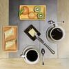 DSC04572-3 (danielle.fourchaud) Tags: déjeuner pain beurre café tasses fruits kiwis clémentines graphisme