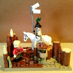 Cavalier courier hands a letter to a roundhead sentry (rossfisher2) Tags: lego civilwar roundhead cavalier parliamentarians royalists moc history