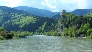 Castle Strečno on the river Wag