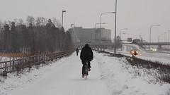 2018 Bike 180: Day 44, February 26 (olmofin) Tags: 2018bike180 finland espoo otsolahti keilaniemi snow bridge slita lumi cyclist pyöräilijä mzuiko 45mm f18
