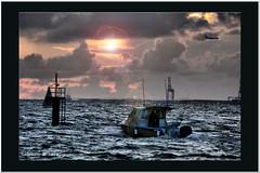Dawn4 (agphoto100) Tags: dawn boat fishing waves sea water coast ship marker sun sunrise clouds lumix fz20 photoshop frame framed colour black flare rings mast wet crane brisbane portofbrisbane