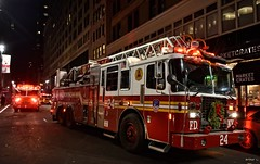 FDNY - Ladder 24 (Arthur Lombard) Tags: fdny firedepartment firebrigade firetruck firestation nikon nikond7200 emergency night street led bluelight ladder ferrara 911 999 112 18 newyork ladder24
