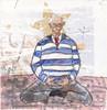 # 267 2018-02-11 (h e r m a n) Tags: herman illustratie tekening 10x10cm tegeltje drawing illustration karton carton cardboard kunst art yoga meditatie maditation mediteren meditate