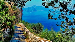 Hiking trail and the Isle of Capri in the background (gerard eder) Tags: world travel reise viajes europa europe italy italia italien campania sorrento landscape landschaft massalubrense trail hiking hitkingtrail natur nature naturaleza wasser water capri countryside naples napoli golfofnaples golfodinapoli outdoor