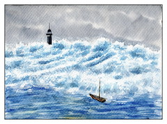 grosses vagues (ybipbip) Tags: aquarelle aquarell akvraell acuarela water watercolor watercolour pintura paint painting marine marin mer mare sea seascape landscape cloud wind lighthouse