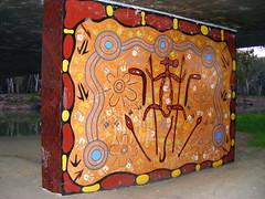 Aboriginal Artwork, Hay, NSW (Diepflingerbahn) Tags: aboriginal artwork murrumbidgeeriver hay nsw murrumbidgeeroadbridgehay fujifilmfinepixs5800s800