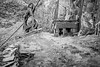 Hanging (ShrubMonkey (Julian Heritage)) Tags: dinorwic dinorwig quarry slate industry decay dereliction derelict abandoned ruin forsaken remote buildings hut metal fallen shack rust wales northwales snowdonia mountain spoil blondin cableway mono bw pengarret caban