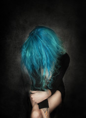 I am in my own home (Laura Wienk) Tags: zelfportret portrait portret selfportrait blue woman bluehair portraitphotography