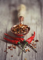Some like it spicy! (Through Serena's Lens) Tags: stilllife crazytuesdaytheme 7dwf spices thaichili redchili chiliflakes crushedredpepper canoneos6dmarkii spoon dof spicy closeup tabletop pastfeaturedwinner