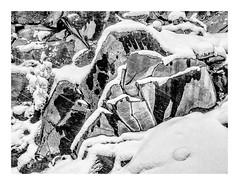 Rock Cliff (rich trinter photos) Tags: mountrainier winter packwood washington unitedstates us landscape cliff trinterphotos naturalpattern abstract minimal blackandwhite monochrome