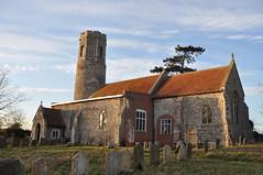 Afternoon sun on and around Mutford Church, Suffolk (series) (Kirkleyjohn) Tags: church churchexterior churchyard suffolk roundtowerchurch roundtower saxon flint flinttower flintwalls