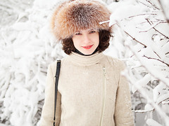 (Serge Zap) Tags: winter fun beautiful female snow white happy cold lifestyle pretty smile woman park casual frozen frost fresh natural lady portrait bright lips mft m43 gh5 lumix hx025
