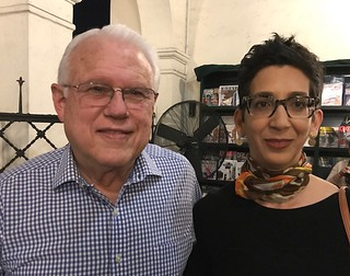 Artists Humberto Calzada and Elizabeth Cerejido at the ARTtuesdays tribute to Margarita Cano a Books & Books