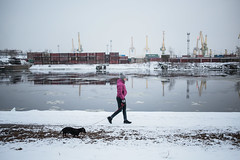 Woman walking dog (Valya V) Tags: canon city russia river people explore woman dog water winter walk weather snow saintpetersburg samyang snowfall reflection digital