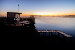 Ngaruroro Hilton (ajecaldwell11) Tags: hut sunrise ankh dawn xe2 fujifilm light lights river tide newzealand hawkesbay napier wharf clouds mist sky fog jetty caldwell reflection water