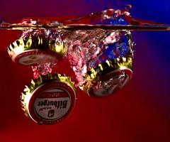 Discarded Bottle Tops (GeorgeN66) Tags: splash miops laser bottletops macro sb200 r1c1 highspeed highspeedphotography creative creativeart drops closeup flash sundaylights