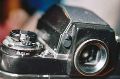 My favorite place on my favorite camera:) (Jetcraftsofa) Tags: nikonf4 vivitar5528macro sb24speedlight ektar100 35mm slr filmphotography flashphotography f3 eyepiece viewfinder cameraporn inmybag