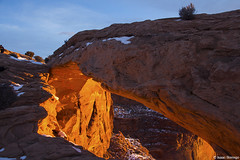 Glow Under the Arch (isaac.borrego) Tags: snow desert moab utah canonrebelt4i arch canyonlands nationalpark