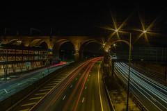 Stockport Viaduct (MrWhippy99UK) Tags: stockport viaduct motorway road bridge train track carpark cars light trail night time photo canon 1300d