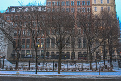 (molly31203) Tags: canada travel canon canon700d street building modern trees tree ligt light winter quiet lonely loneliness scerenity peaceful white snow solemn montreal city cities
