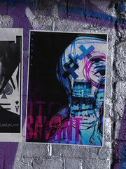 Savant (Steve Taylor (Photography)) Tags: savant plaster eye x monster alien leelaluna aceofspades teeth art graffiti pasteup wheatup wheatpaste poster streetart black blue silver circled mauve purple red white weird odd strange frightening creepy eerie scary paint paper uk gb england greatbritain unitedkingdom london