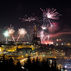New Year's Eve in Reykjavik (bennett.cachon) Tags: hallgrimskirkja iceland newyears reykjavik fireworks perlan nightscape newyearseve cityscape longexposure