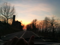 Let's live (davidepremoselli) Tags: car drive run sunset wood road lifestyle