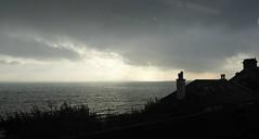 Winter Day in Dawlish. (jenichesney57) Tags: dark water coast houses silhouettes beach panasoniclumixtz60 light horizon stormy windy view seascape bushes chimneys roofs