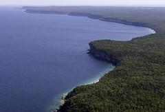 Bruce Peninsula (blueheronco) Tags: aerial niagaraescarpment georgianbay brucepeninsulanationalpark brucepeninsula ontario canada water forest coast cliffs cabothead cavepoint