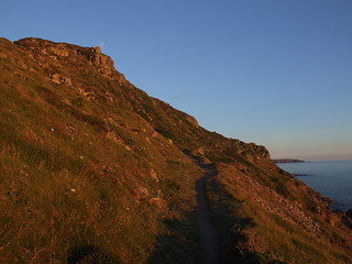 Coast Path and Hermon Hill, by Porth Nanven, near Cape Cornwall, at sunset