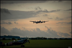 LAST START FOR TODAY (sick4pic) Tags: plane airplane grass evening spitfire lancaster sky clouds royalairforce raf propeller trees start field airfield england duxford air airshow old vintage wwii ww2