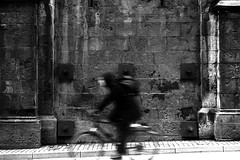 Ghost Rider (Leica M6) (stefankamert) Tags: stefankamert ghostrider tübingen bicycle bike man wall textures film analog grain blur blurry leica m6 leicam6 kodak trix summicron summicrondr speed blackandwhite blackwhite noir noiretblanc
