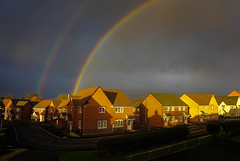 Great Light & Rainbows!!! (howard1916 - Something for everyone!) Tags: rainbows storm darkness light sky cloud overcast building house