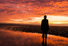 another place, crosby beach, statue at sunset (JuliaPKaye) Tags: sunset sculpture anthonygormley crosbybeach