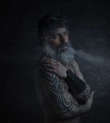 Snowflakes. On the frozen ground the snowflakes fell like an infinite rain of feathers. (jcalveraphotography) Tags: selfportrait selfie serie studio surrealism creative conceptualimage portrait photo photographer projects people picture person snowflake beard bearded 365 explore eyes 365days