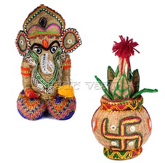 Handcrafted Ganpati Idol With Swastik Kalash | VedicVaani.com (vedicvaani.com) Tags: coconut kalasha ganapati handcrafted ecofriendly stone artificial online decorated