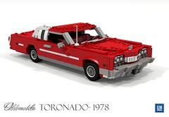 Oldsmobile Toronado - 1978 (lego911) Tags: oldsmobile toronado coupe 1978 1970s classic fwd gm general motors v8 auto car moc model miniland lego lego911 ldd render cad povray land yacht luxury personal usa america