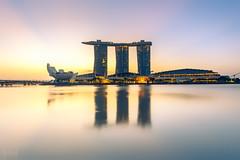 Marina Bay Sands, Singapore (KSAG Photography) Tags: hotel architecture skyline landscape cityscape reflection water sunrise singapore asia southeastasia building sky longexposure wideangle hdr nikon february 2018 sun city urban travel tourism