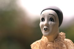 Happiness is ... (HansHolt) Tags: pierrot sad clown pantomine commediadellarte puppet porcelain vintage white face tear collaret skullcap macro bokeh canon 6d 100mm canoneos6d canonef100mmf28macrousm smileonsaturday happinessis