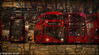 Inside Leyton Garage (M C Smith) Tags: pentax kp bus buses red garage art oil painting canvas cracked distressed numbers letters black yellow white lights poster blue
