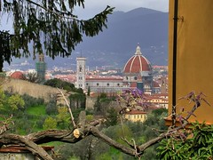 Florence vista with Basilica di Santa Maria del Fiore. (edk7) Tags: nikoncoolpix4500 edk7 2004 italy italia toscana tuscany firenze florence basilicadisantamariadelfiore duomodifirenze cupoladibrunelleschi1436 domefilippobrunelleschi1436 florentinegothic lanternamichelozzo1461 lanternmichelozzo1461 marble lantern octagonal roof religious tile church sculpture stonecarving edifice city urban cityscape roofline cupola unescoworldheritagesite citywalls architecture building oldstructure tree tower crenellation
