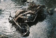 Drowned bike (knautia) Tags: pigeonhousestream croxbottom bristol england uk february 2018 motorbike film ishootfilm olympus om10 olympusom10 fuji superia 400iso ceescamera myfavouritefromtheroll myfavoruitefromtheroll